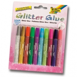 Glitter glue metallic en tube 10 couleurs