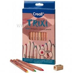 Crayons à grosse mine Creall-Trixi - 12 couleurs