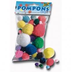 Pompons 30 pièces couleurs assorties