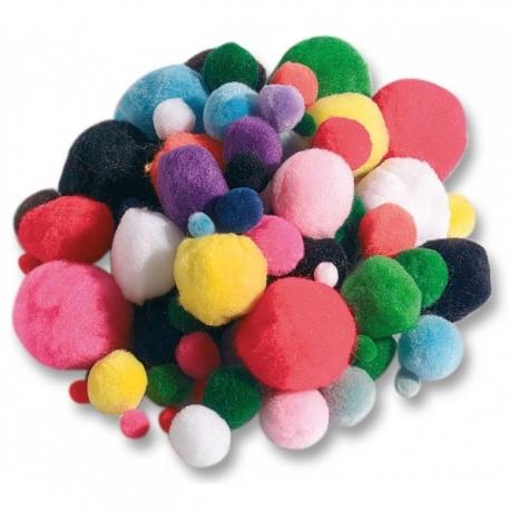 Pompons 100 pièces couleurs assorties