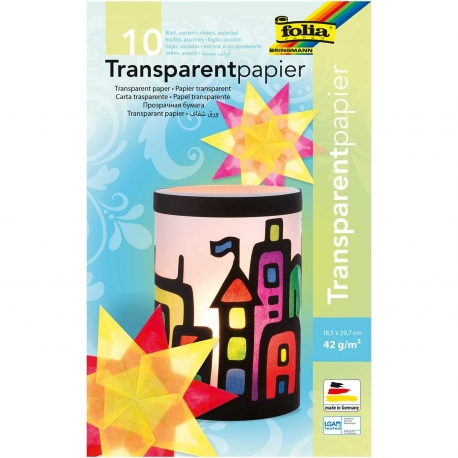 Papier transparent couleur 18,5 x 29,7 cm
