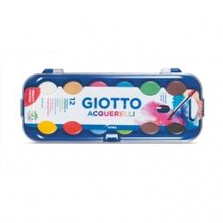 Boîte de gouache Giotto 12 pastilles avec pinceau
