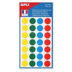 Pastilles adhésives - Ø 15mm - couleurs assorties